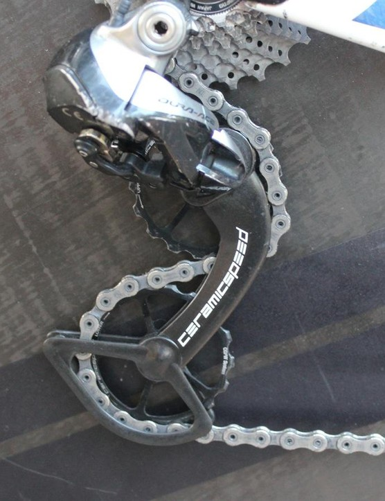 Extra-large CeramicSpeed pulleys on Stephens' bike