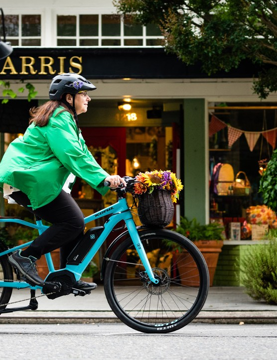 A cargo bike might be overkill for carrying bunches of flowers, but the colour combination is on point