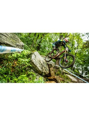 Greg Minnaar riding the 29er V10 at Mont-Sainte-Anne