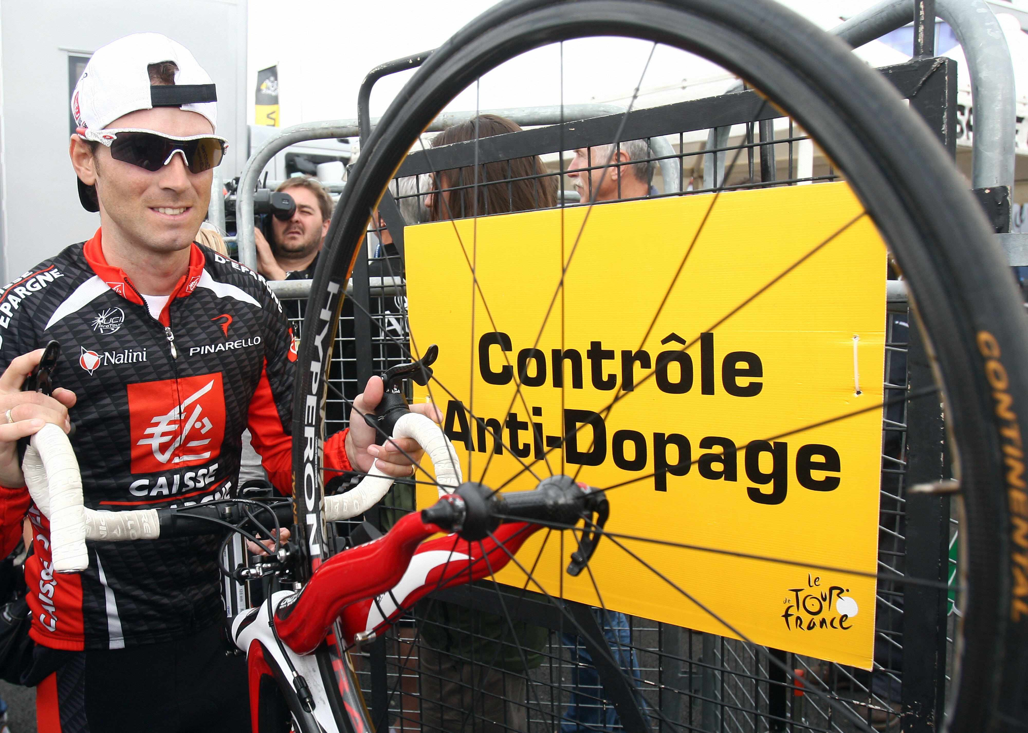 Alejandro Valverde leaves a doping control at the Tour de France