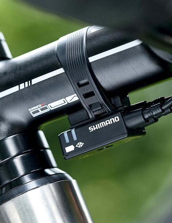 The Ultegra Di2 junction box sits under the VNT alloy stem