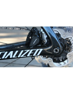 Specialized's tidy mount bolts straight through the chainstay, and the thru-axle wheels have Allen key engagement for flush mounting