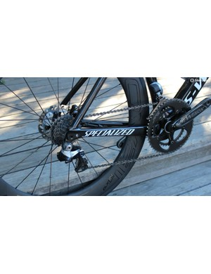 Unlike the original Tarmac Disc bike that featured proprietary spacing, the ViAS Disc uses the 142x12 standard