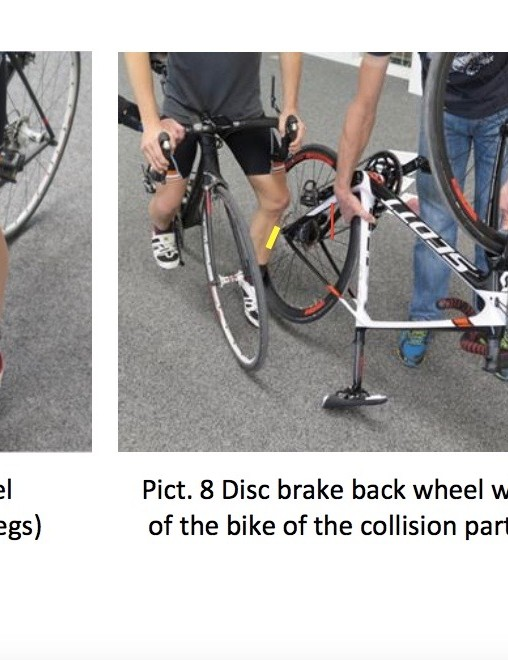 Swiss forensics doctor Ulrich Zollinger recreated the crash Francisco Ventoso described that resulted in a laceration to his left leg. Ventoso said he did not come off of his own bike