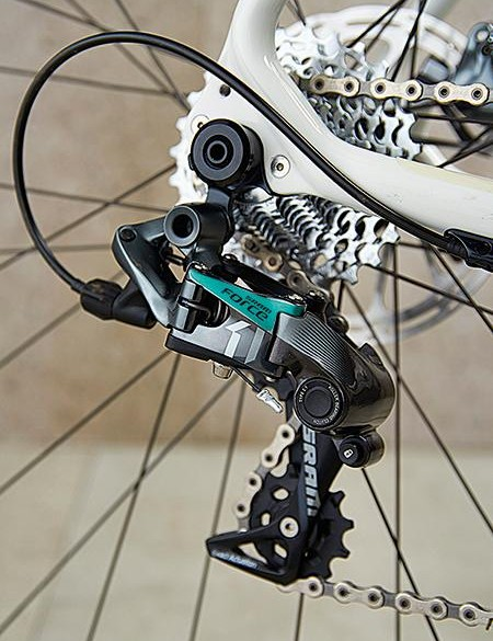 SRAM's Force derailleur features, along with 12mm thru-axles front and rear