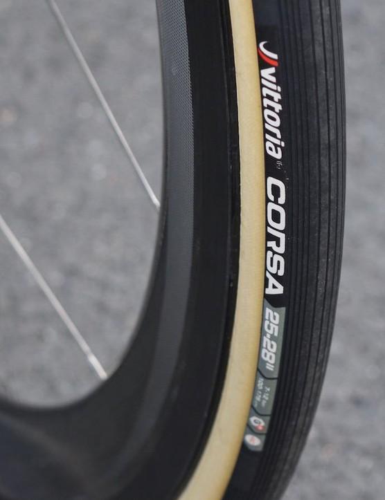 Vittoria's Corsa tread has unique parallel striations
