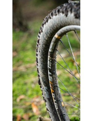 A soft compound 'High Grip' version of the WTB Vigilante delivers excellent traction up front