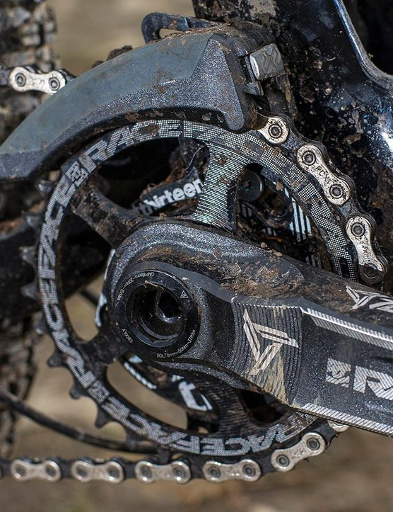 The SRAM X1/Race Face/e*thirteen transmission is a match for much more expensive bikes