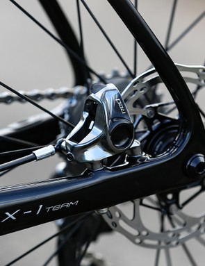 The disc frameset has thru-axles front and rear