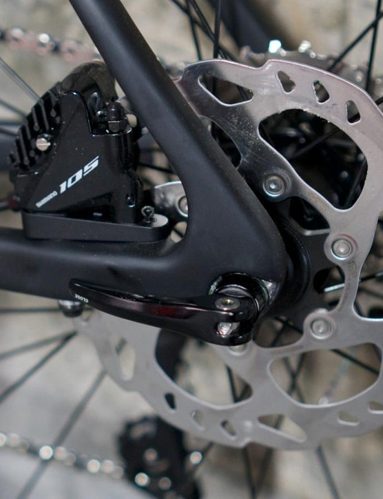 Hydraulic Shimano 105 disc brakes stop our Bike of the Year Zenium CRW