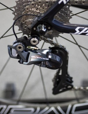 He's running a Dura-Ace R9150 Di2 derailer at the back