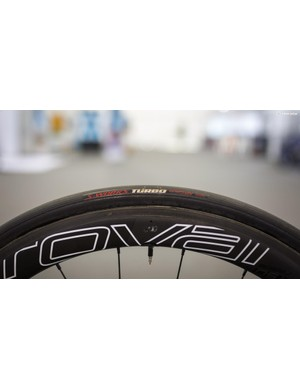 Viviani is rolling on 26mm Specialized Turbo tubs with the Gription compound