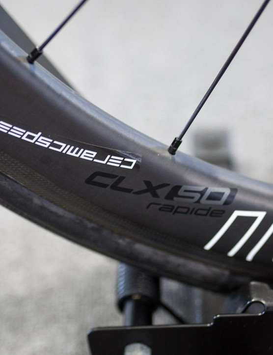 Viviani's Roval CLX 50 Rapide wheels have upgraded CeramicSpeed bearings