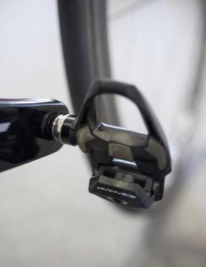 Viviani's Dura-Ace pedals look pretty new