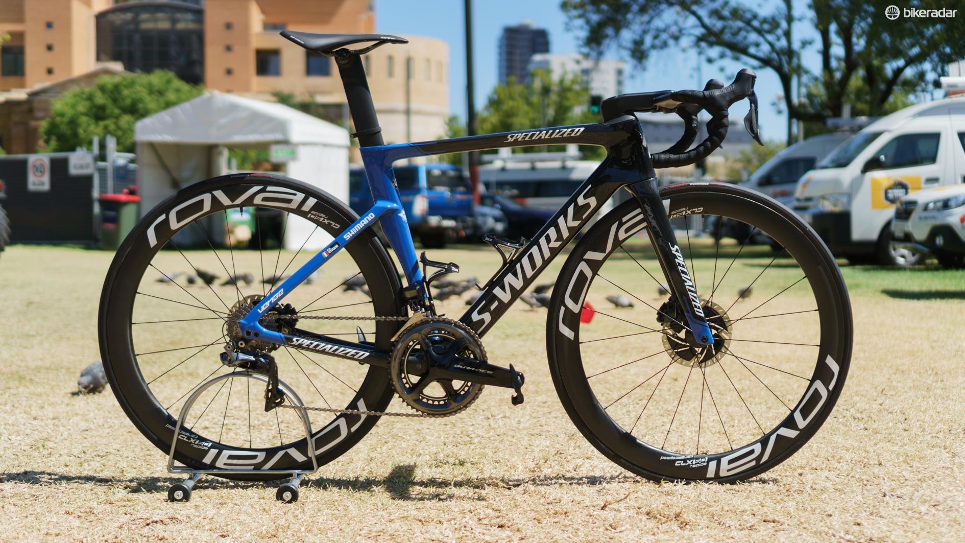 Elia Viviani rode this Specialized S-Works Venge to victory in the first stage of the 2019 Tour Down Under