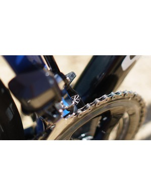 The bike is fitted with a K-Edge chain catcher