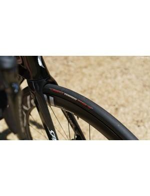 The bike rolls on 26mm-wide S-Works Turbo tubulars