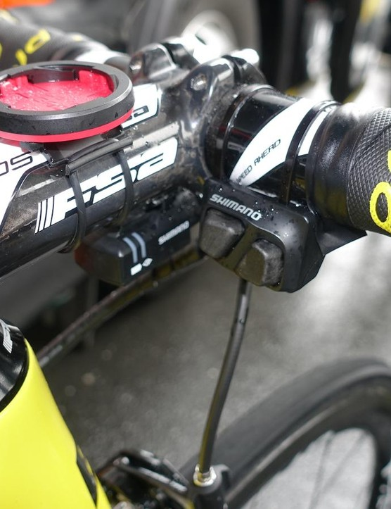 A Shimano Di2 climbing switch and Polar computer mount keep shifting and vital information handy
