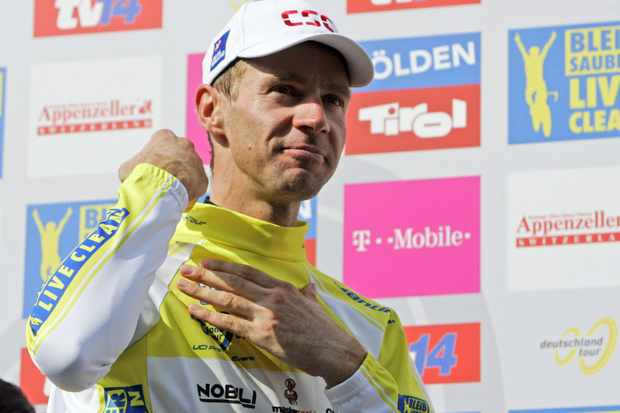 Jens Voigt (CSC) celebrates his victory in the Tour of Germany
