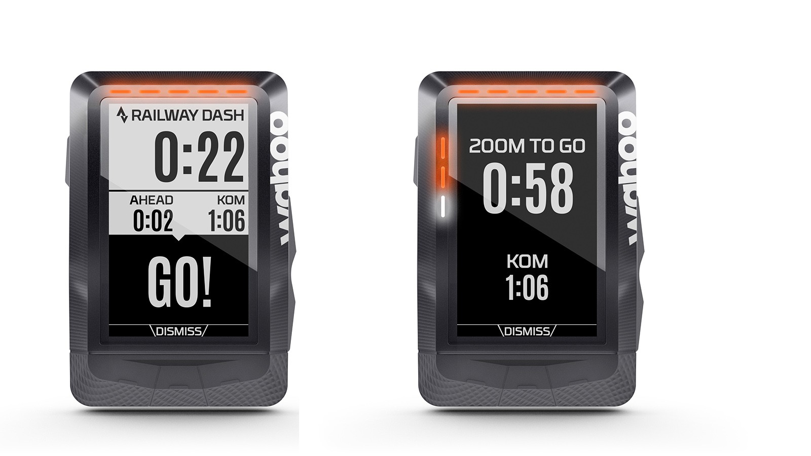 The Wahoo Elemnt syncs with Strava so riders can race their personal bests, or the best time of their friend or KOM/QOM