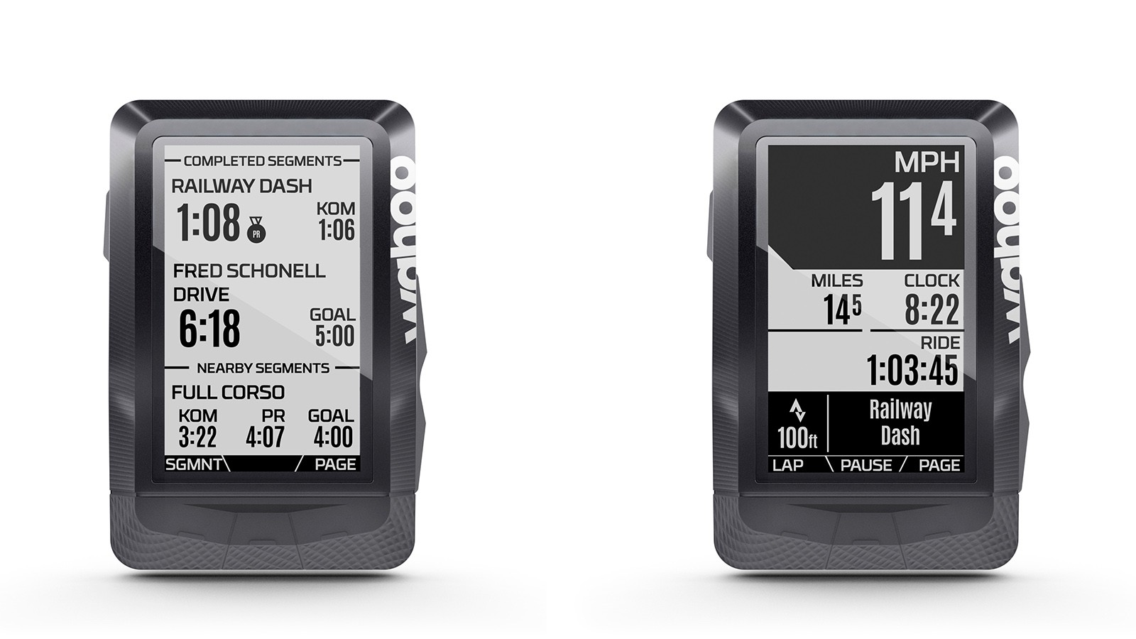 After each completed Segment, the Elemnt shows a status page. Riders choose which Segments are activated on their Elemnt by starring them on Strava.com