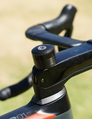 Around 20mm of steerer tube is positioned above the stem at this early stage of the season