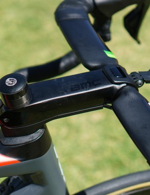The BMC Teammachine SLR01 features an integrated stem system and is used instead of one of ENVE's offerings