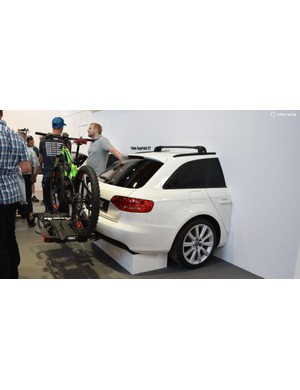 Bike rack maker Thule did a very neat job of crashing this Audi into the wall of their booth
