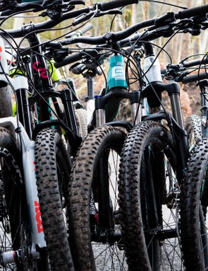 A selection of the trail bikes on test, including some budget options that will be online soon