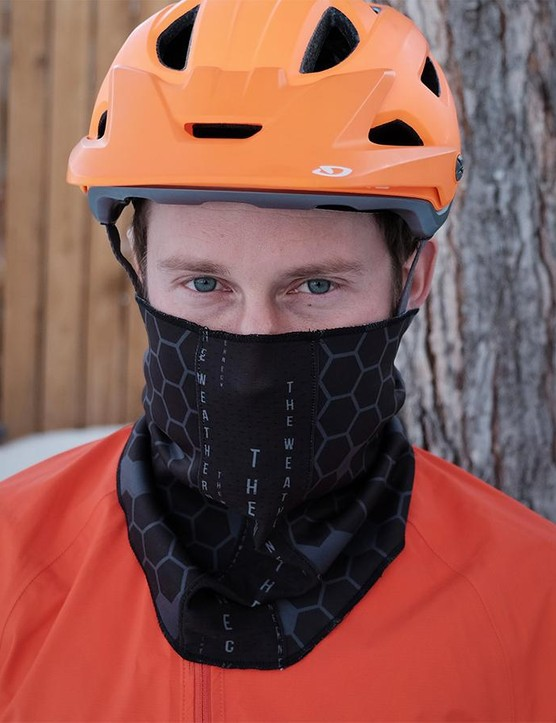 The Weatherneck uses magnetic snaps so it's easy to remove while riding