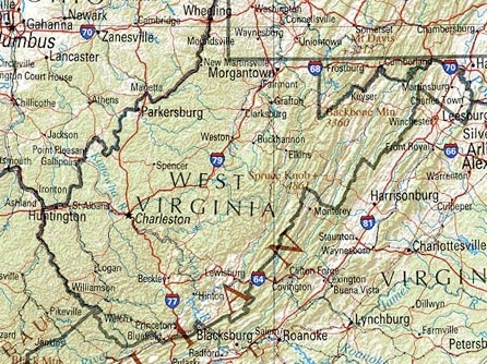 West Virginia map.
