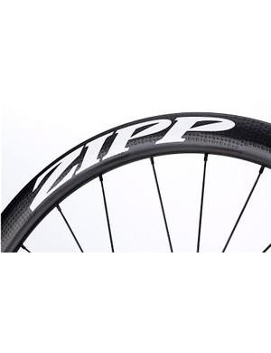 The 303 Firecrest tubular disc wheel's graphics run the full height of the rim