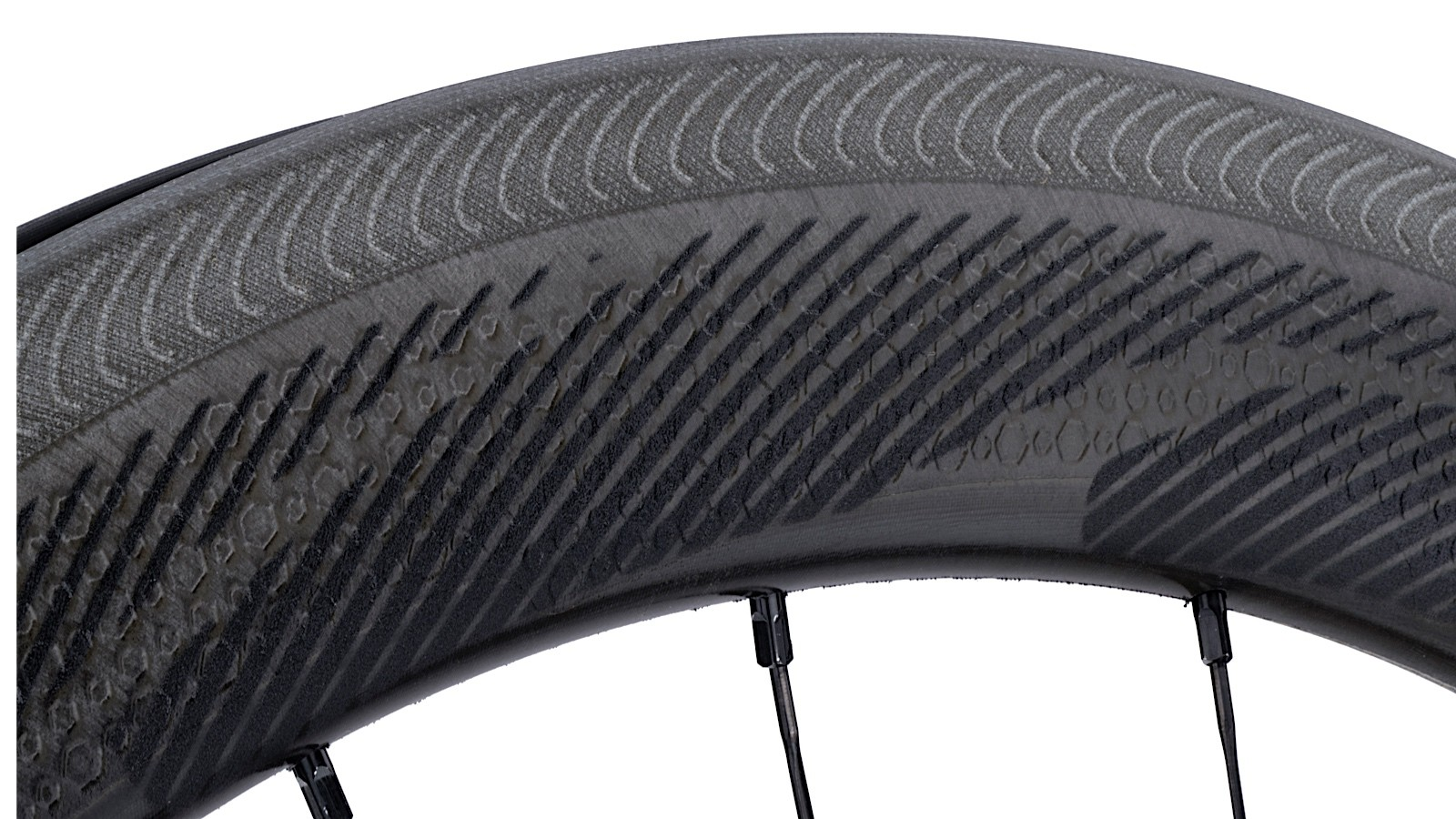 The NSW wheels have Zipp's etched Showstopper brake track and the company's dimpled rim surface