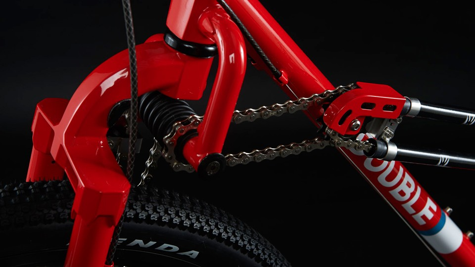 A chain runs from the rear of the bike to a CV joint...