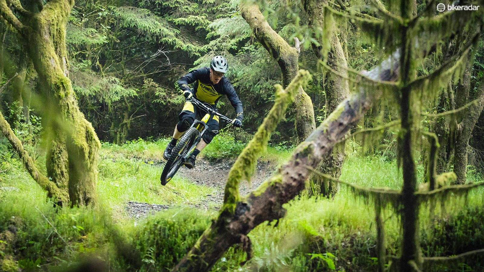 "Sam Shucksmith, Whyte's design engineer and rapid enduro racer, chose to run 2.8"" tyres on his personal bike"