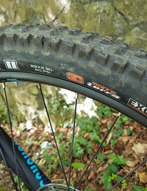 Triple compound tyres from Maxxis are a decent spec decision for an enduro bike