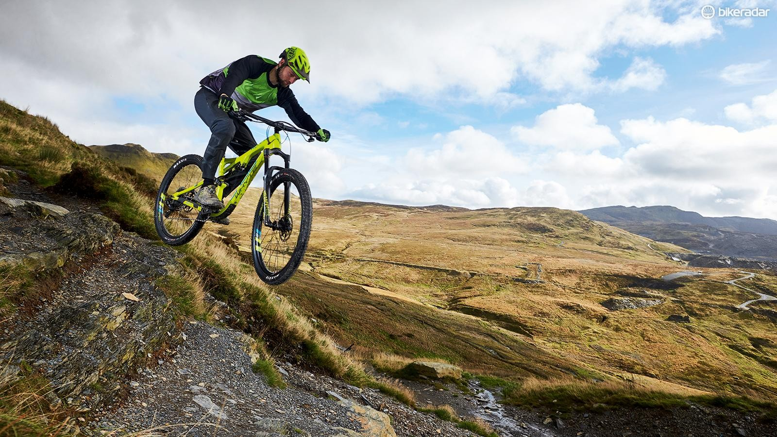 The Whyte's confidence-inspiringgeometry and supple suspensionmake for an immensely capablerough terrain tamer