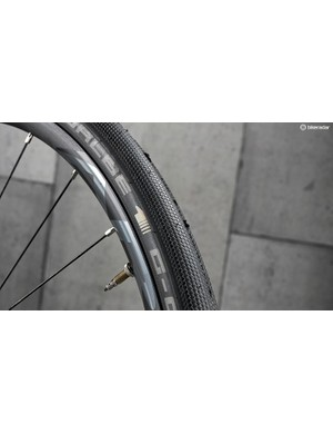Wide Schwalbe tyres sit on Easton rims that deal with rough roads well