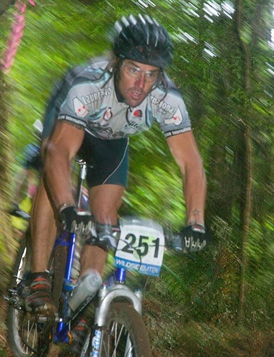 Tasmanian Kim Curtis flying through the rainforest