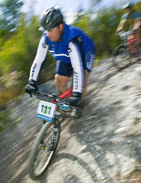 Tasmanian Douglas Miller rides a treacherous gravel downhill