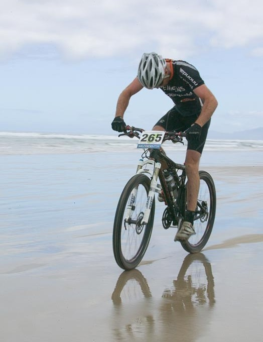 Tassie Grant Rowbottom looks to be feeling the pinch as the pace quickens along Ocean  Beach
