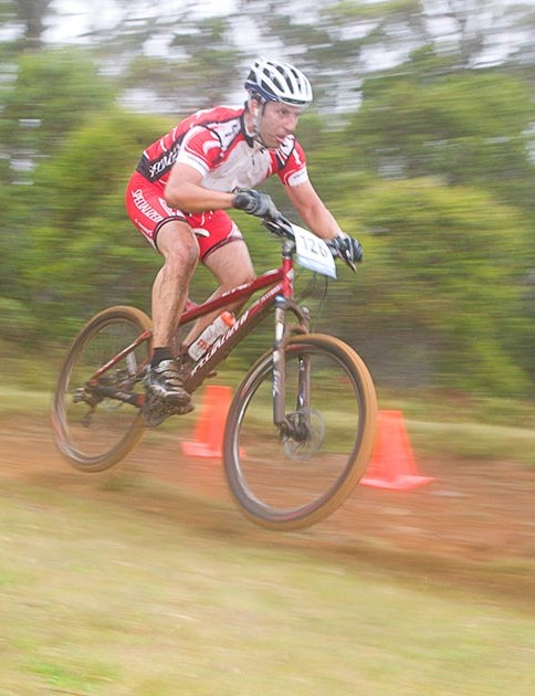 Alan Bolton, from Victoria, gets some air near the stage one finish at Cradle Mountain.