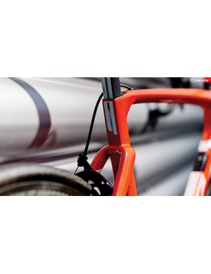 The barrel adjusters are housed within the frame to keep the Cento10 as aero as possible