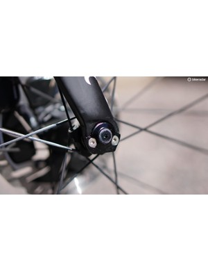 As with the rear, the front dropouts unbolt so you can switch to quick-release hubs