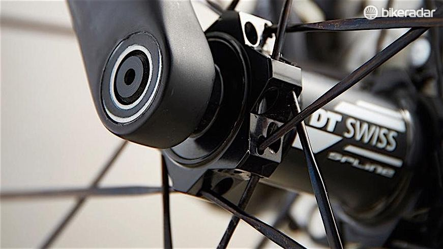 The bolted thru-axle fork is unwavering, even on rough roads
