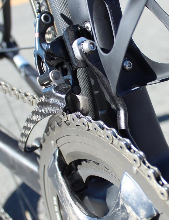 The derailleur mount on the thin downtube has a little give, but the front shifts well enough