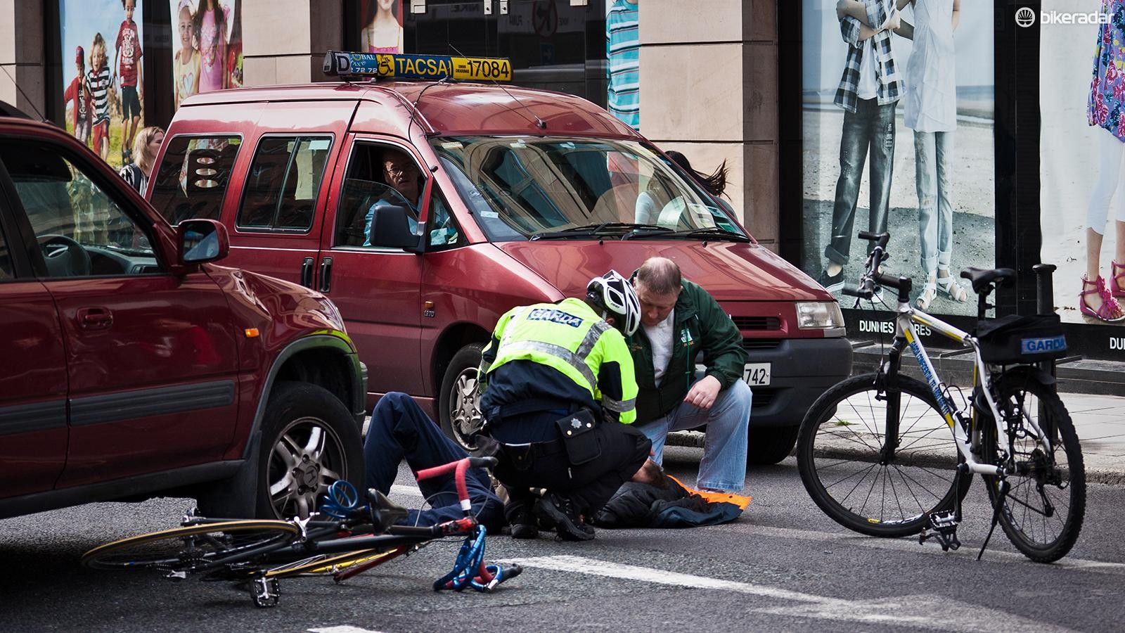 If you see a crash or altercation between a motorist and cyclist report what you saw to the authorities and exchange information