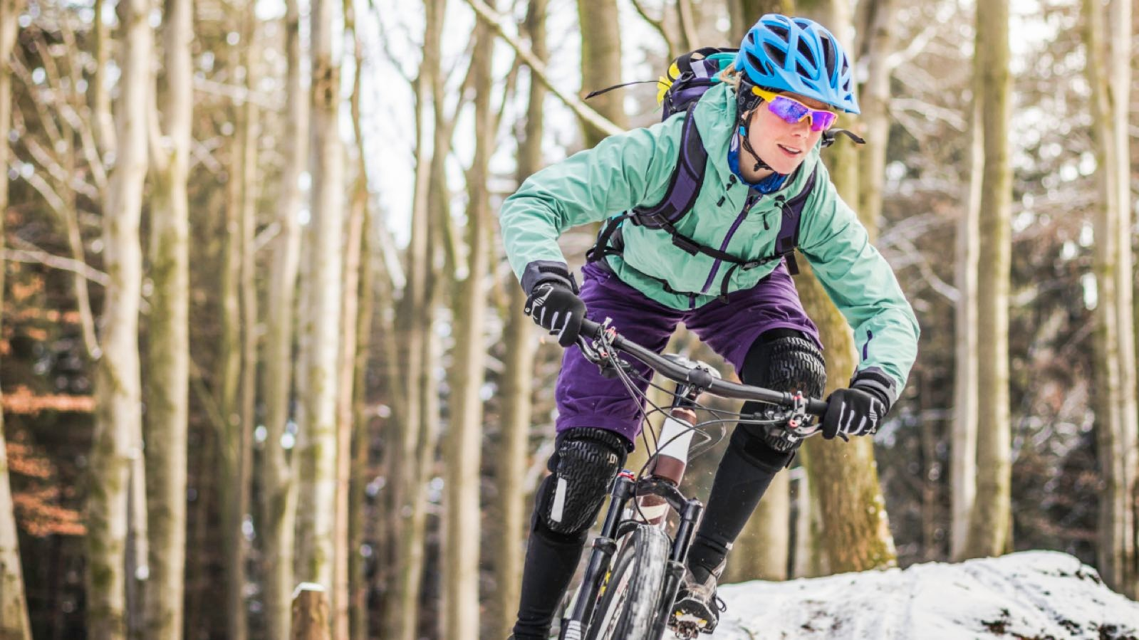 Mountain bikers might want to wear shorts through winter, but tights can be added underneath for those bitterly cold days
