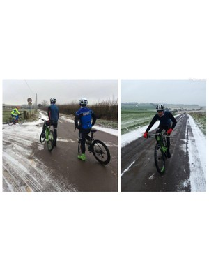 We braved snowy conditions this Saturday on our ride through the Mendips