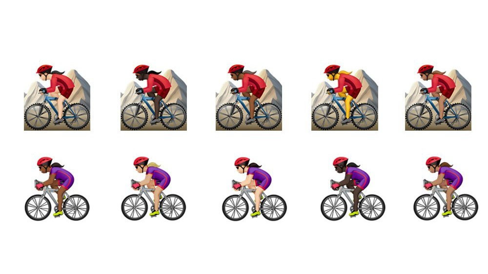 The new emojis feature female cyclists with a range of skin tones and ethnicities